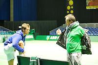 14-02-13, Tennis, Rotterdam, ABNAMROWTT, Practise, Richard Gasquet with his coach Gabriel Markus.