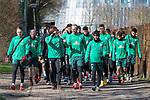 12.03.2020, Trainingsgelaende am wohninvest WESERSTADION,, Bremen, GER, 1.FBL, Werder Bremen Training, im Bild<br /> <br /> Die Mannschaft kommt zum Training - Kevin Vogt (Werder Bremen  #03)<br /> Yuya Osako (Werder Bremen #08)<br /> Milot Rashica (Werder Bremen #07)<br /> Davie Selke (Neuzugang SV Werder Bremen #09)<br /> Leonardo Bittencourt  (Werder Bremen #10)<br /> Ludwig Augustinsson (Werder Bremen #05)<br /> <br /> Foto © nordphoto / Kokenge