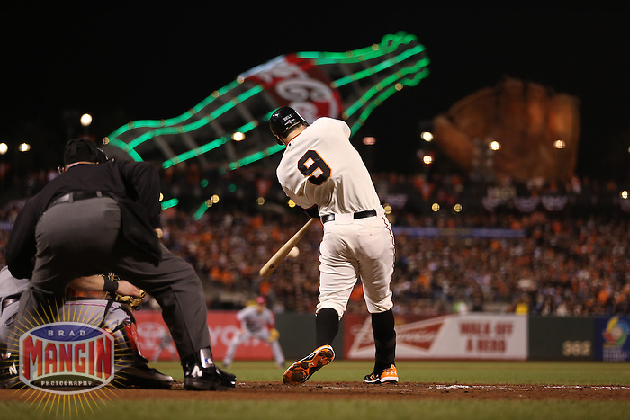 SAN FRANCISCO - OCTOBER 7:  Brandon Belt of the San Francisco Giants bats during Game 2 of the NLDS against the Cincinnati Reds at AT&T Park on October 7, 2012 in San Francisco, California. (Photo by Brad Mangin)