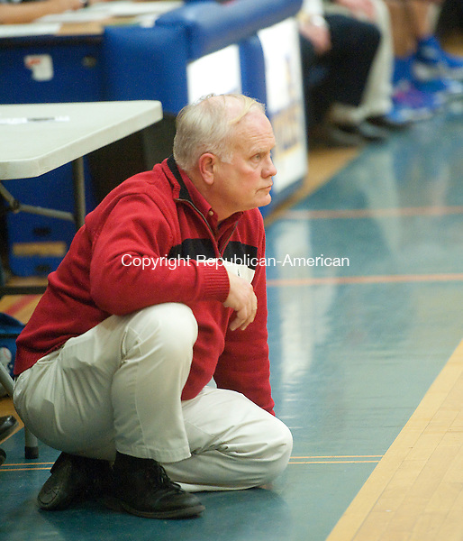 WINSTED, CT--- -011516JS06--Northwestern head coach Fred Williams watches game action as his team plays Gilbert during their game Friday at the Gilbert School in Winsted. <br />  Jim Shannon Republican-American