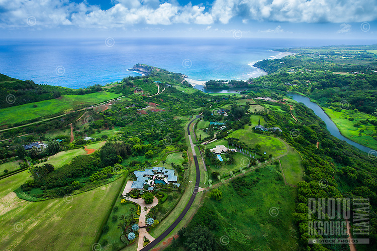 An aerial perspective of large ranch properties on Kaua'i.