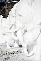 Elephants ice sculpture at the 2007 Quebec City Winter Carnival (Carnaval de Québec)