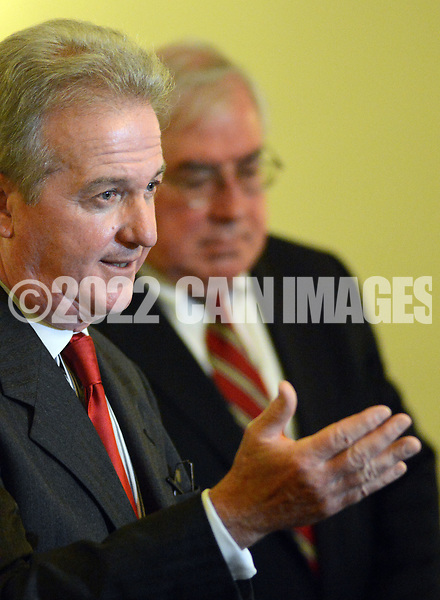 DOYLESTOWN, PA - JUNE 20: Bucks County Controller Raymond F. McHugh (L) speaks with the media as Bucks County District Attorney David Heckler stands to the right during a news conference June 20, 2014 at the Bucks County Courthouse in Doylestown, Pennsylvania. (Photo by William Thomas Cain/Cain Images)
