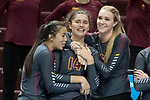GRAND RAPIDS, MI - NOVEMBER 18: Claremont-Mudd-Scripps players celebrate during the Division III Women's Volleyball Championship held at Van Noord Arena on November 18, 2017 in Grand Rapids, Michigan. Claremont-M-S defeated Wittenberg 3-0 to win the National Championship. (Photo by Doug Stroud/NCAA Photos via Getty Images)