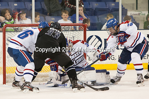 Christian Folin (UML - 26), Alex Grieve (Bentley - 23), Brian Robbins (UML - 30), Jake Suter (UML - 28) -  - The University of Massachusetts-Lowell River Hawks defeated the visiting Bentley University Falcons 3-2 on Sunday, December 30, 2012, at Tsongas Arena in Lowell, Massachusetts.