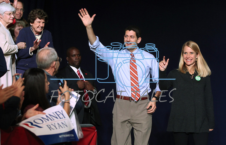 Republican Vice-Presidential candidate, Congressman Paul Ryan and his wife Janna enter a campaign rally in Reno, Nev., on Thursday, Nov. 1, 2012. .Photo by Cathleen Allison