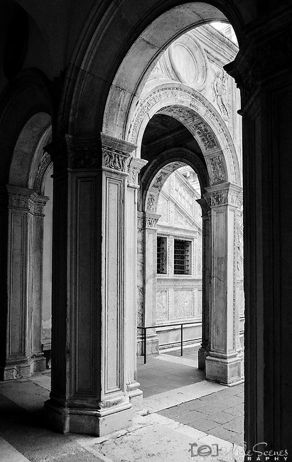 Columns in the courtyard of the Doge's Palace in Venice, Italy