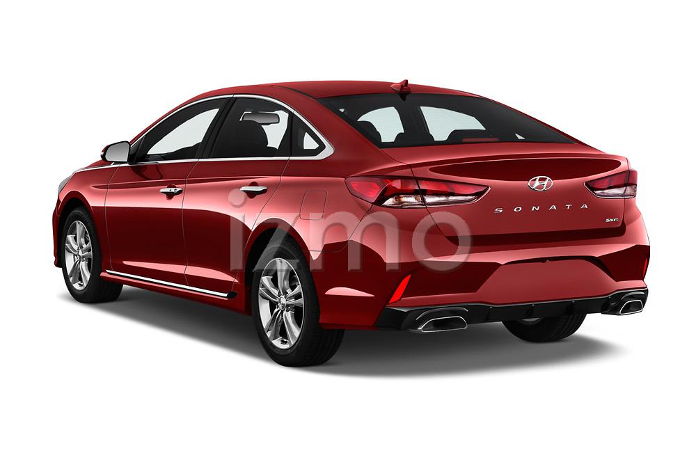 Car pictures of rear three quarter view of a 2018 Hyundai Sonata Sport 4 Door Sedan angular rear