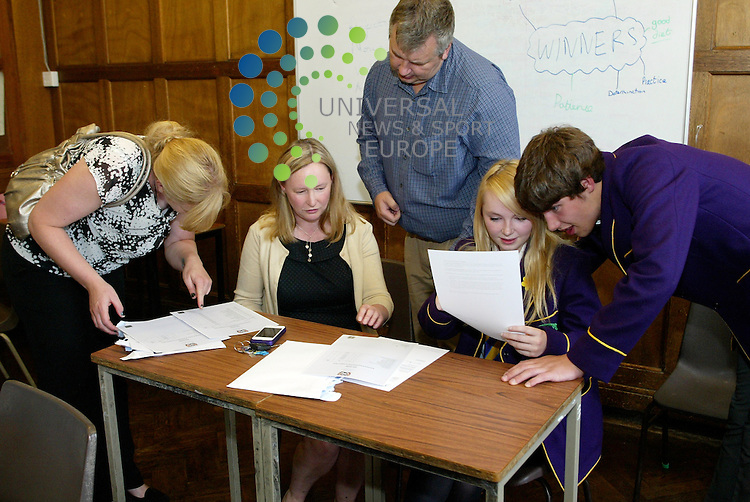 A happy family and very happy pupils after opening their exam results at Troon's Marr College . 07/08/2012 Picture: Universal News and Sport (Scotland)