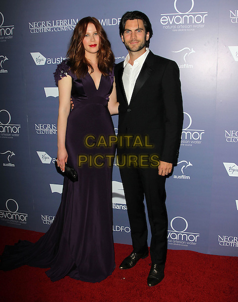 Anna McGahan, Wes Bentley.Australians in Film 8th Annual Breakthrough Awards held at The Hotel Intercontinental in Century City, California, USA..June 27th, 2012.full length purple dress white shirt black suit stubble facial hair .CAP/ADM/KB.©Kevan Brooks/AdMedia/Capital Pictures.