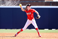 GREENSBORO, NC - FEBRUARY 22: Madison Robicheau #12 of Fairfield University throws to first base for an out during a game between Fairfield and North Carolina at UNCG Softball Stadium on February 22, 2020 in Greensboro, North Carolina.
