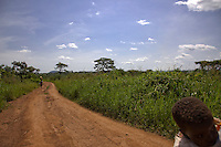 A group of refugees on the road to  Nyori refugee camp in South Sudan. They fled after LRA attacked neighboring villages in South Sudan In June 2009.