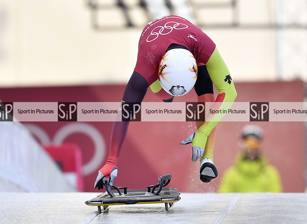 Christopher Grotheer (GER). Skeleton training. Alpensia sliding centrePyeongchang2018 winter Olympics. Alpensia. Republic of Korea. 13/02/2018. ~ MANDATORY CREDIT Garry Bowden/SIPPA - NO UNAUTHORISED USE - +44 7837 394578