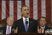United States President Barack Obama, flanked by U.S. Vice President Joe Biden, left, and Speaker of the U.S. House of Representatives John Boehner (Republican of Ohio) gives his State of the Union address during a joint session of Congress on Capitol Hill in Washington, DC on February 12, 2013.    .Credit: Charles Dharapak / Pool via CNP
