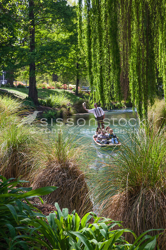 Punting on the River Avon in Spring, Christchurch, Canterbury, New Zealand - stock photo, canvas, fine art print