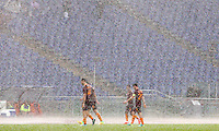 Calcio, Serie A: Roma vs Sampdoria. Roma, stadio Olimpico, 11 settembre 2016.<br /> Heavy rain falls during the Italian Serie A football match between Roma and Sampdoria at Rome's Olympic stadium, 11 September 2016. Roma won 3-2.<br /> UPDATE IMAGES PRESS/Riccardo De Luca