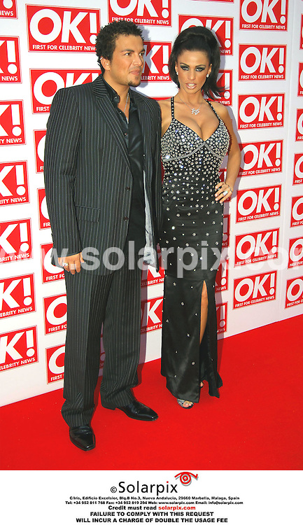 ALL-ROUND PICTURES FROM SOLARPIX.COM - 11.05.06.*MUST CREDIT SOLARPIX.COM OR DOUBLE USAGE FEE*.Jordan and husband Peter Andre attend the OK Magazine party in London last night.REF: 2331 MSR