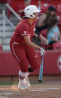 NWA Democrat-Gazette/ANDY SHUPE<br /> Arkansas first baseman Ashley Dias connects for a sacrifice  fly to score a run against Wichita State Wednesday, April 10, 2019, during the fifth inning at Bogle Park in Fayetteville. Visit nwadg.com/photos to see more photographs from the game.