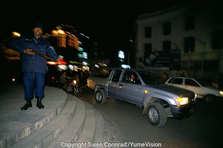 Curfew at Durbar square in Kathmandu City, Nepal