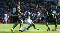 Blackburn Rovers' Bradley Dack battles with Doncaster Rovers' Tommy Rowe (left) and Rodney Kongolo (right) <br /> <br /> Photographer Stephen White/CameraSport<br /> <br /> The EFL Sky Bet League One - Blackburn Rovers v Doncaster Rovers - Saturday August 12th 2017 - Ewood Park - Blackburn<br /> <br /> World Copyright &copy; 2017 CameraSport. All rights reserved. 43 Linden Ave. Countesthorpe. Leicester. England. LE8 5PG - Tel: +44 (0) 116 277 4147 - admin@camerasport.com - www.camerasport.com