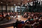 Germany, Berlin, 2018/09/04<br /> <br /> Panel Diskussion mit Peter Lilienthal, Deborah Feldman und Jeanine Meerapfel (from left) in Berlin on 04/09/2018. In ihrer Reihe Akademie-Dialog spricht Akademie-Präsidentin Jeanine Meerapfel mit der Autorin Deborah Feldman und dem Filmregisseur Peter Lilienthal über deren persönliche Beziehung zur jüdischen Religion und Tradition sowie die damit verbundenen Zwänge und Möglichkeiten. Wie werden diese erlebt und was heißt es, heute jüdisch in Deutschland zu sein? (Photo by Gregor Zielke)