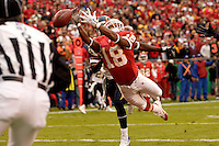 Chiefs wide receiver Samie Parker just misses a pass in the end zone during the first half against the San Diego Chargers at Arrowhead Stadium  in Kansas City, MO on October 22, 2006. The Chiefs won 30-27.