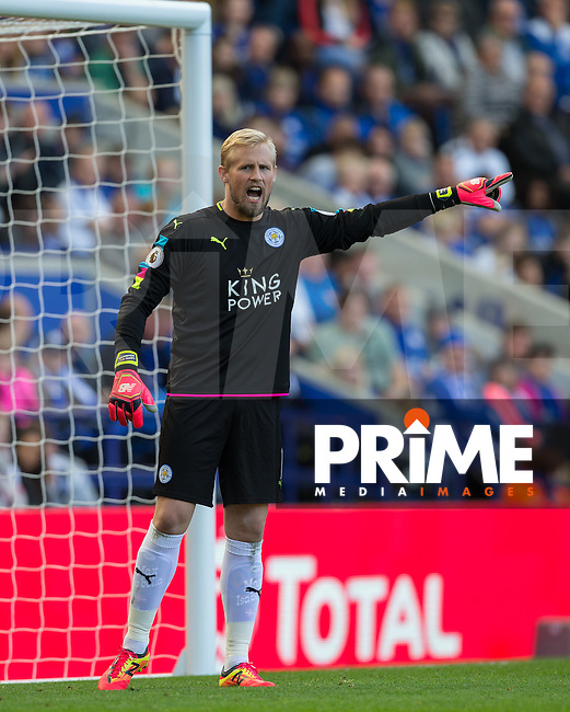 Goalkeeper Kasper Schmeichel of Leicester City during the Premier League match between Leicester City and Southampton at the King Power Stadium, Leicester, England on 2 October 2016. Photo by Andy Rowland.