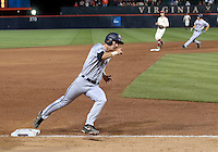 Virginia outfielder Mike Papi (38) rounds second base on his way to score in the third inning during an NCAA college baseball regional tournament game against Arkansas in Charlottesville, VA., Friday, June 1, 2014. ( Photo/Andrew Shurtleff)