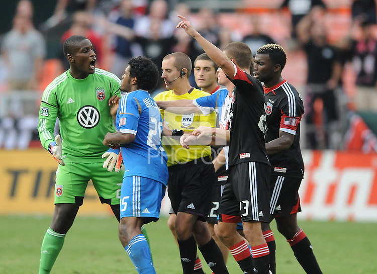 D.C. United midfielder Bill Hamid (28) argues with Philadelphia Union defender Sheanon Williams (25) D.C. United tied The Philadelphia Union 1-1 at RFK Stadium, Saturday August 19, 2012.