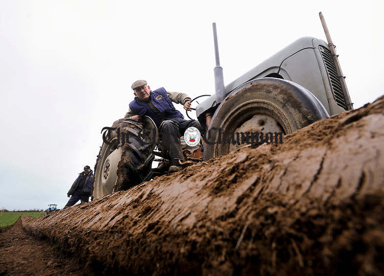 North Tipperary's William Mooney  taking part in the Clare Ploughing Association's county championships at Newmarket On Fergus. Photograph by John Kelly.