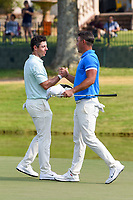 Rory McIlroy (NIR) congratulates Brooks Koepka (USA) for winning the WGC FedEx St. Jude Invitational, TPC Southwind, Memphis, Tennessee, USA. 7/28/2019.<br /> Picture Ken Murray / Golffile.ie<br /> <br /> All photo usage must carry mandatory copyright credit (© Golffile | Ken Murray)