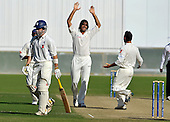 Scotland opener Fraser Watts (left) departs for 5, out to the bowling of Afghanistan bowler Shapoor Zadran (centre) the Intercontinental Cup final match, at Dubai Sports City Stadium - picture by Donald MacLeod 02.12.10 - mobile 07702 319 738 - clanmacleod@btinternet.com - www.donald-macleod.com