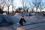 Kendrick Brinson.LUCEO..Tyler Parpart, 11, rides his scooter with friends at the Williston Skatepark in Williston, North Dakota, January 2012. Williston is currently experiencing an influx of people relocating there for the town's third oil boom. ..Model Released: no.Assigning Editor: Michael Wichita.