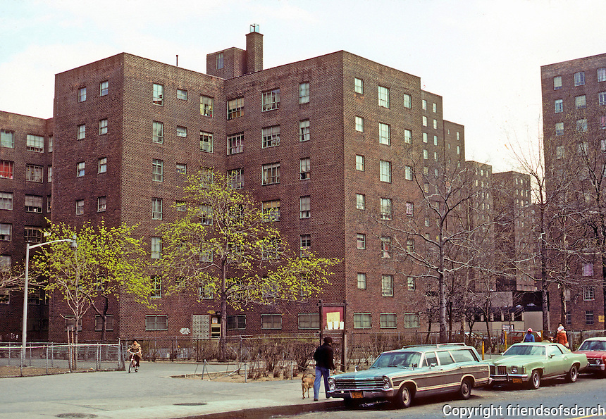 New York City: Lower East side, Jacob Riis Houses from Ave. D & 8th St. 1949 New York Housing Authority. Photo '78.