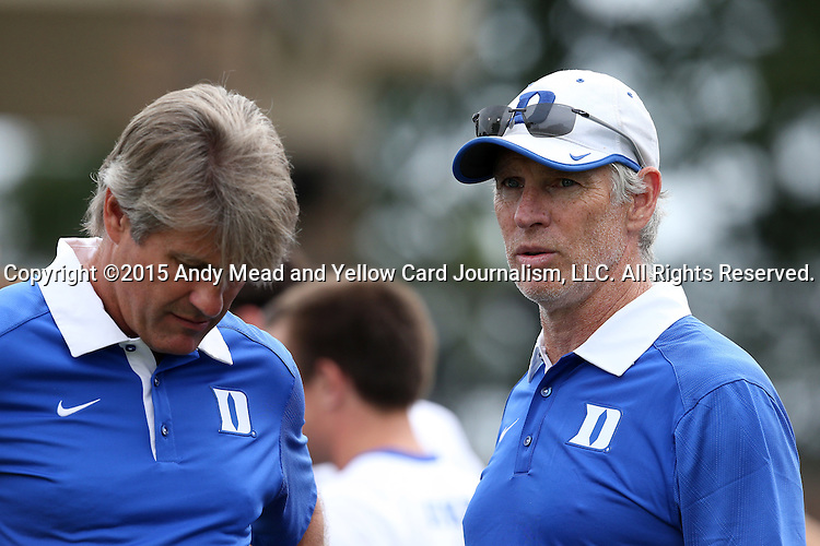 30 August 2015: Duke assistant coach Mike Miller (right) with head coach John Kerr (left). The Duke University Blue Devils hosted the DePaul University Blue Demons at Koskinen Stadium in Durham, NC in a 2015 NCAA Division I Men's Soccer match.