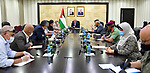 Palestinian Prime Minister Mohammed Ishtayeh chairs a meeting of the leaders of the security establishment, in the West Bank city of Ramallah, on June 27, 2020 Photo by Prime Minister Office