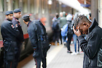 A migrant is stopped by the Italian police at the border with Austria at the Brennero (Brenner) pass. They have no more access to the trains to reach Germany or Austria without valid passeport or ID even if they have a ticket in Brennero, Brenner, on September 15, 2015.
