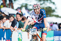 Picture by Alex Broadway/SWpix.com - 06/09/17 - Cycling - UCI 2017 Mountain Bike World Championships - XCO - Cairns, Australia - Grant Ferguson of Great Britain reacts after talking 4th in the Cross Country Team Relay.