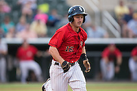 Grant Massey (16) of the Kannapolis Intimidators hustles down the first base line against the West Virginia Power at Kannapolis Intimidators Stadium on August 20, 2016 in Kannapolis, North Carolina.  The Intimidators defeated the Power 4-0.  (Brian Westerholt/Four Seam Images)