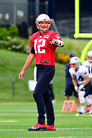 July 27, 2017: New England Patriots quarterback Tom Brady (12) signals to a teammate at the New England Patriots training camp held on the practice field at Gillette Stadium, in Foxborough, Massachusetts. Eric Canha/CSM