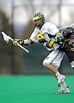 14 April 2007: University of Vermont Catamounts' Adam Kornuth, a Senior from Denver, CO, in action against the University of Albany Great Danes at Moulton Winder Field, in Burlington, Vermont. The Great Danes defeated the Catamounts 14-7...Mandatory Photo Credit: Ed Wolfstein Photo