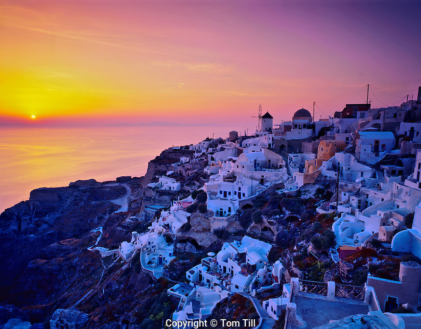 Oia at Sunset, Island of Santorini, Possible source of Atlantis Legend, Greece