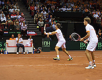 14-sept.-2013,Netherlands, Groningen,  Martini Plaza, Tennis, DavisCup Netherlands-Austria, Doubles,   Robin Haase(R) and Jean-Julien Rojer (NED)<br /> Photo: Henk Koster
