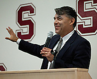 STANFORD, CA - February 3, 2011: David Esquer, head coach of California's baseball team during the Bay Area Media Day at Kissick Auditorium on Stanford's campus.