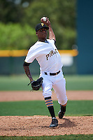 GCL Pirates relief pitcher Hector Garcia (34) during a game against the GCL Yankees East on August 15, 2016 at the Pirate City in Bradenton, Florida.  GCL Pirates defeated GCL Yankees East 5-2.  (Mike Janes/Four Seam Images)