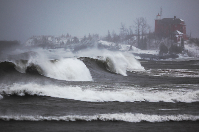 Marquette Lighthouse and gale force waves lighthouses in the Upper Peninsula of Michigan