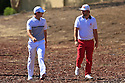 Rory McIlroy (IRE) and Andy Sullivan (ENG) during the final round of the DP World Golf Championship played at the Earth Course, Jumeira Golf Estates, Dubai 19-22 November 2015. (Picture Credit / Phil Inglis )