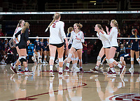 STANFORD, CA - December 1, 2018: Holly Campbell, Jenna Gray, Kate Formico, Kathryn Plummer, Morgan Hentz, Meghan McClure at Maples Pavilion. The Stanford Cardinal defeated Loyola Marymount 25-20, 25-15, 25-17 in the second round of the NCAA tournament.