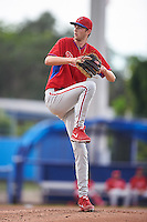 GCL Phillies relief pitcher Kyle Young (22) during the first game of a doubleheader against the GCL Blue Jays on August 15, 2016 at Florida Auto Exchange Stadium in Dunedin, Florida.  GCL Phillies defeated the GCL Blue Jays 7-5 in a continuation of a game originally started on July 30th.  (Mike Janes/Four Seam Images)