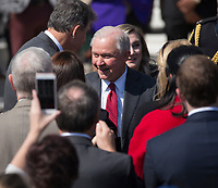 United States Attorney General Jeff Sessions chats with members of the audience during the welcoming of the 2017 NCAA Football National Champions: The Alabama Crimson Tide to the White House in Washington, DC, March 10, 2018. <br /> CAP/MPI/RS<br /> &copy;RS/MPI/Capital Pictures
